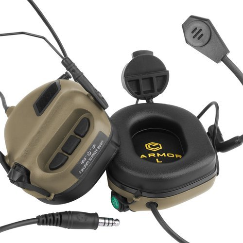 Earmor - M32H Mod 3 Tactical Communication Headset for Helmets - Coyote Tan